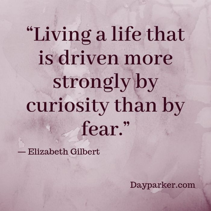 """""""Living a life that is driven more strongly by curiosity than by fear."""""""